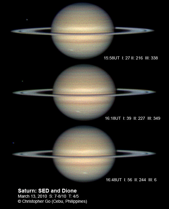 Saturn was almost at the zenith when I took these images. Seeing was good.